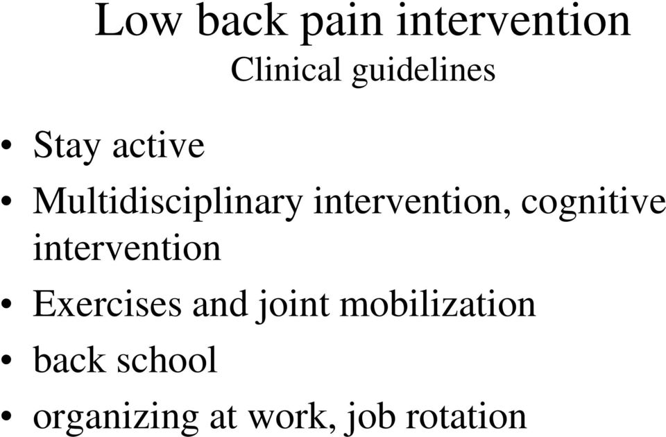 cognitive intervention Exercises and joint