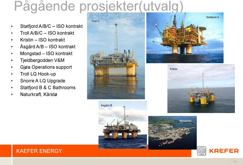 Tjeldbergodden V&M Gjøa Operations support Troll LQ Hook-up Snorre A LQ Upgrade