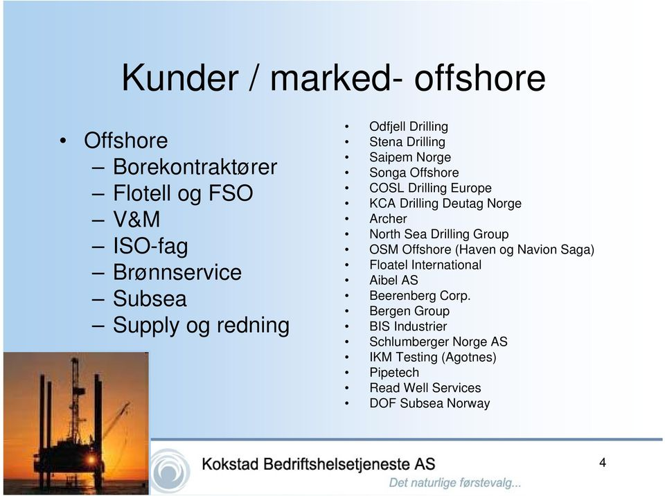 Archer North Sea Drilling Group OSM Offshore (Haven og Navion Saga) Floatel International Aibel AS Beerenberg Corp.