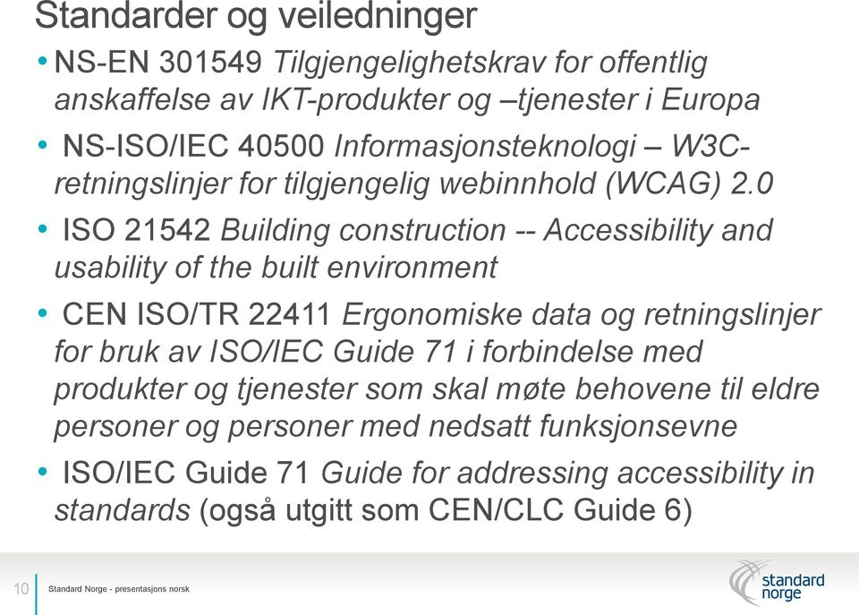 0 ISO 21542 Building construction -- Accessibility and usability of the built environment CEN ISO/TR 22411 Ergonomiske data og retningslinjer for bruk av ISO/IEC