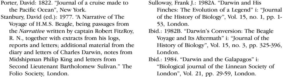 Bartholomew Sulivan. The Folio Society, London. Sulloway, Frank J.: 1982A. Darwin and His Finches: The Evolution of a Legend i: Journal of the History of Biology, Vol. 15, no. 1, pp. 1-53, London.