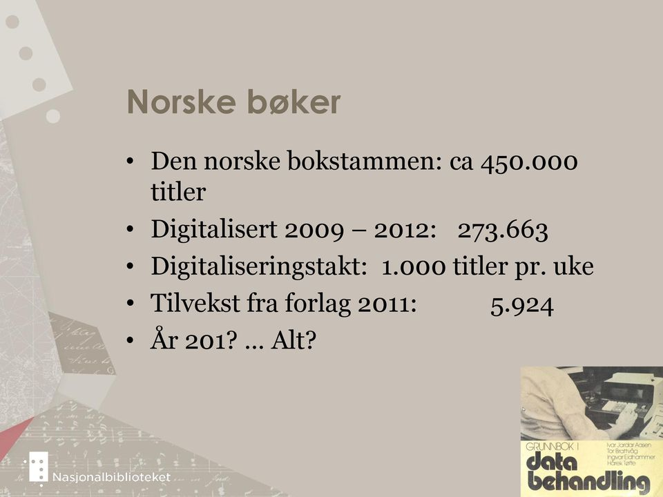 663 Digitaliseringstakt: 1.000 titler pr.
