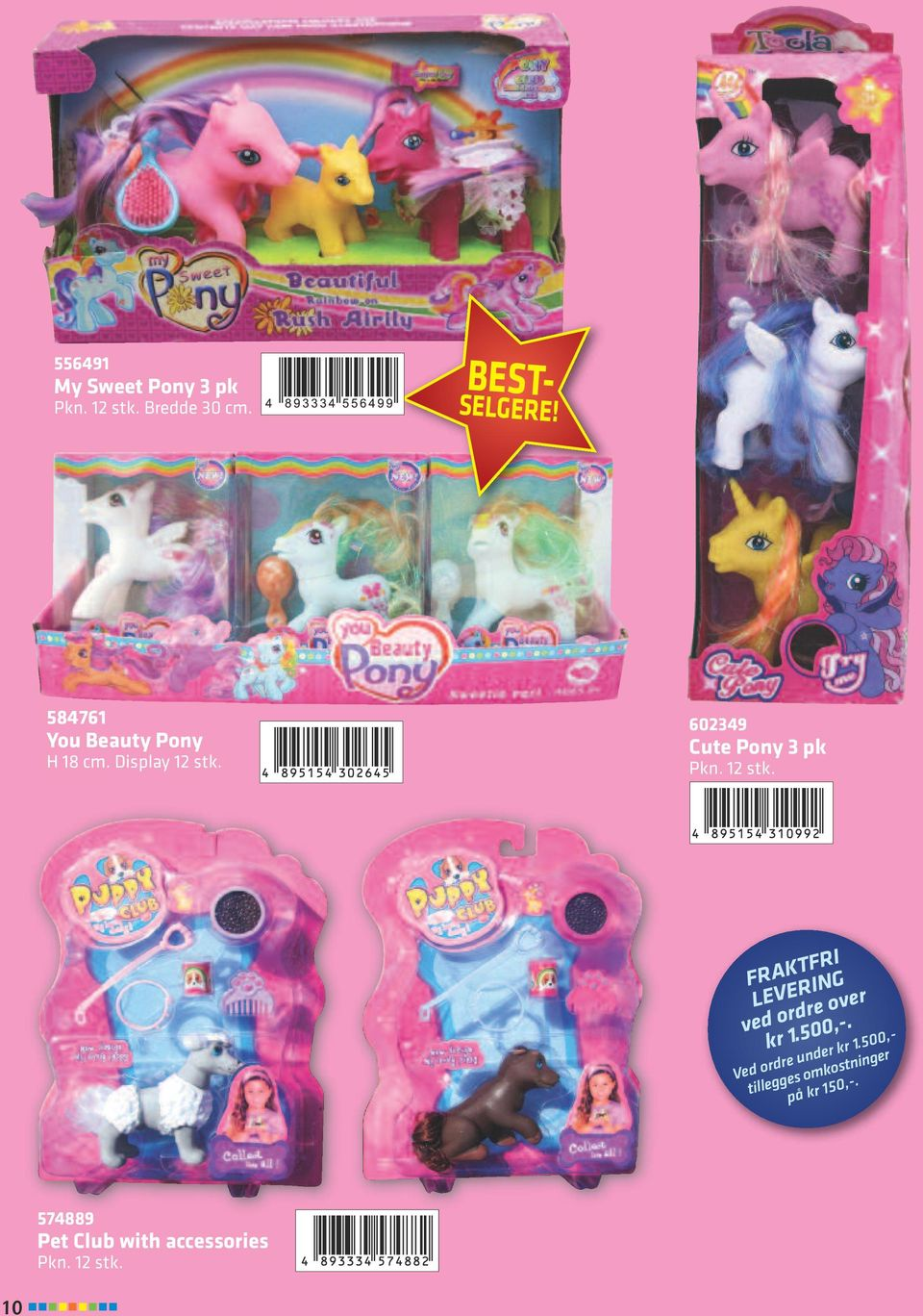 602349 Cute Pony 3 pk FRAKTFRI LEVERING ved ordre over kr 1.500,-.