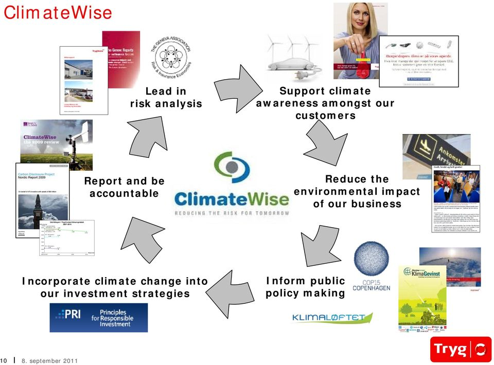 970 ClimateWise a Lead in risk analysis Support climate awareness amongst our customers Report and be accountable Reduce the environmental
