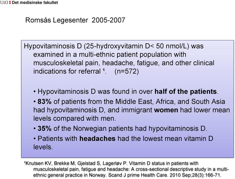83% of patients from the Middle East, Africa, and South Asia had hypovitaminosis D, and immigrant women had lower mean levels compared with men. 35% of the Norwegian patients had hypovitaminosis D.