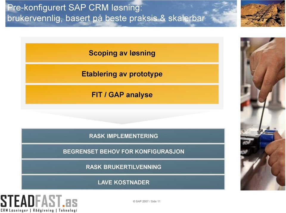 FIT / GAP analyse RASK IMPLEMENTERING BEGRENSET BEHOV FOR