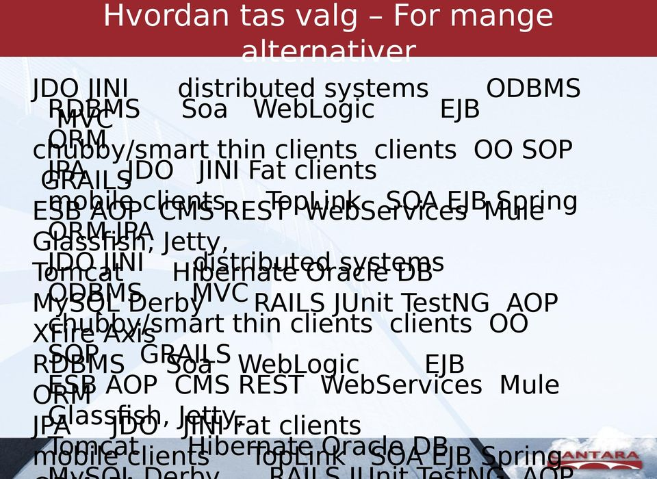 Hibernate distributed Oracle systems DB MySQL ODBMS Derby MVC RAILS JUnit TestNG AOP XFire chubby/smart Axis thin clients clients OO RDBMS SOP GRAILS