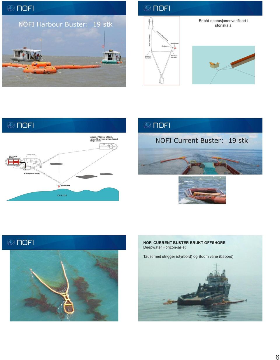 STORAGE BARGE SKIMMER VESSEL NOFI Harbour Buster BoomVane ICE EDGE NOFI CURRENT BUSTER
