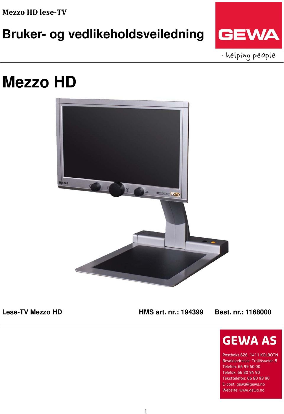 HD Lese-TV Mezzo HD HMS art.