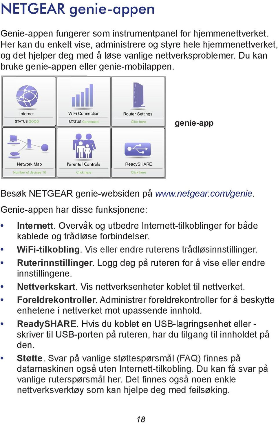 Internet STATUS GOOD WiFi Connection STATUS Connected Router Settings Click here genie-app Network Map Parental Controls ReadySHARE Number of devices 16 Click here Click here Besøk NETGEAR