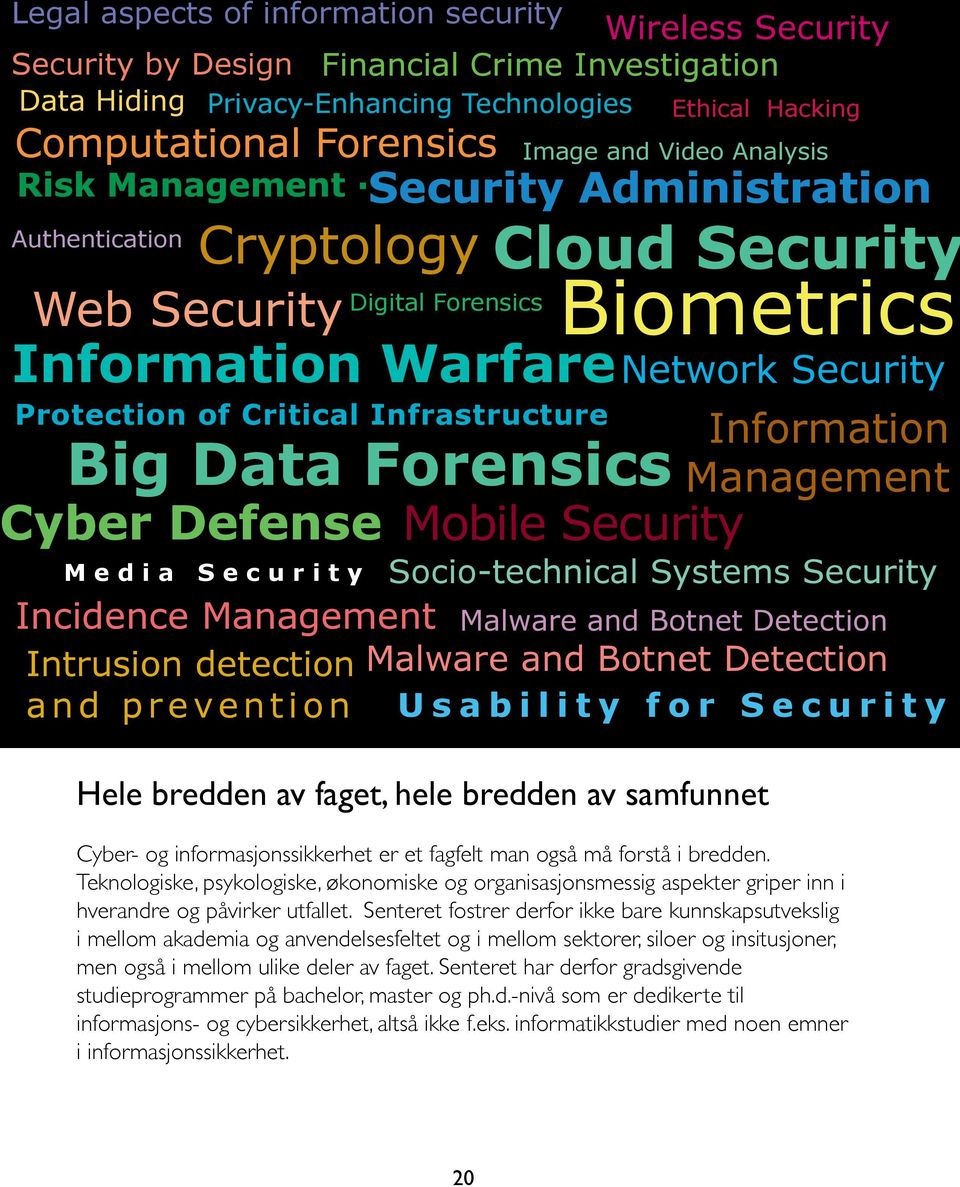 Ethical Hacking Cloud Security Biometrics Mobile Security Network Security Information Management Media Security Socio-technical Systems Security Incidence Management Malware and Botnet Detection