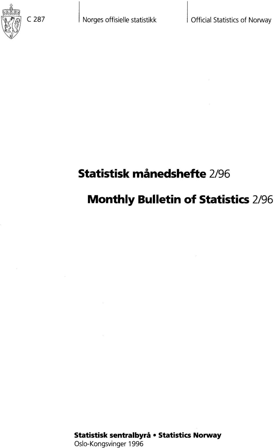 2/96 Monthly Bulletin of Statistics 2/96
