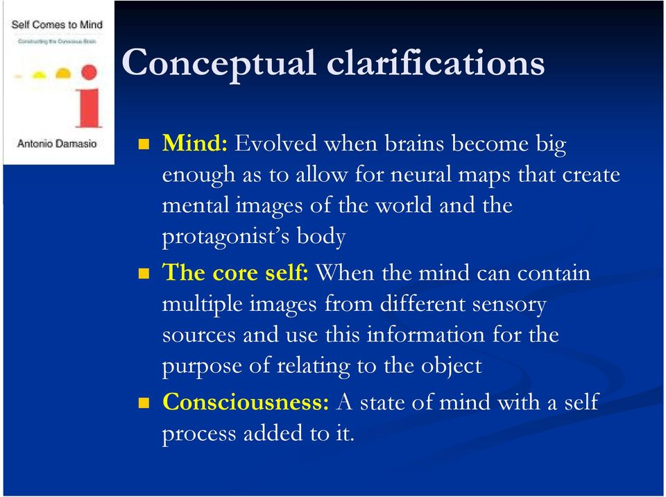 mind can contain multiple images from different sensory sources and use this information for