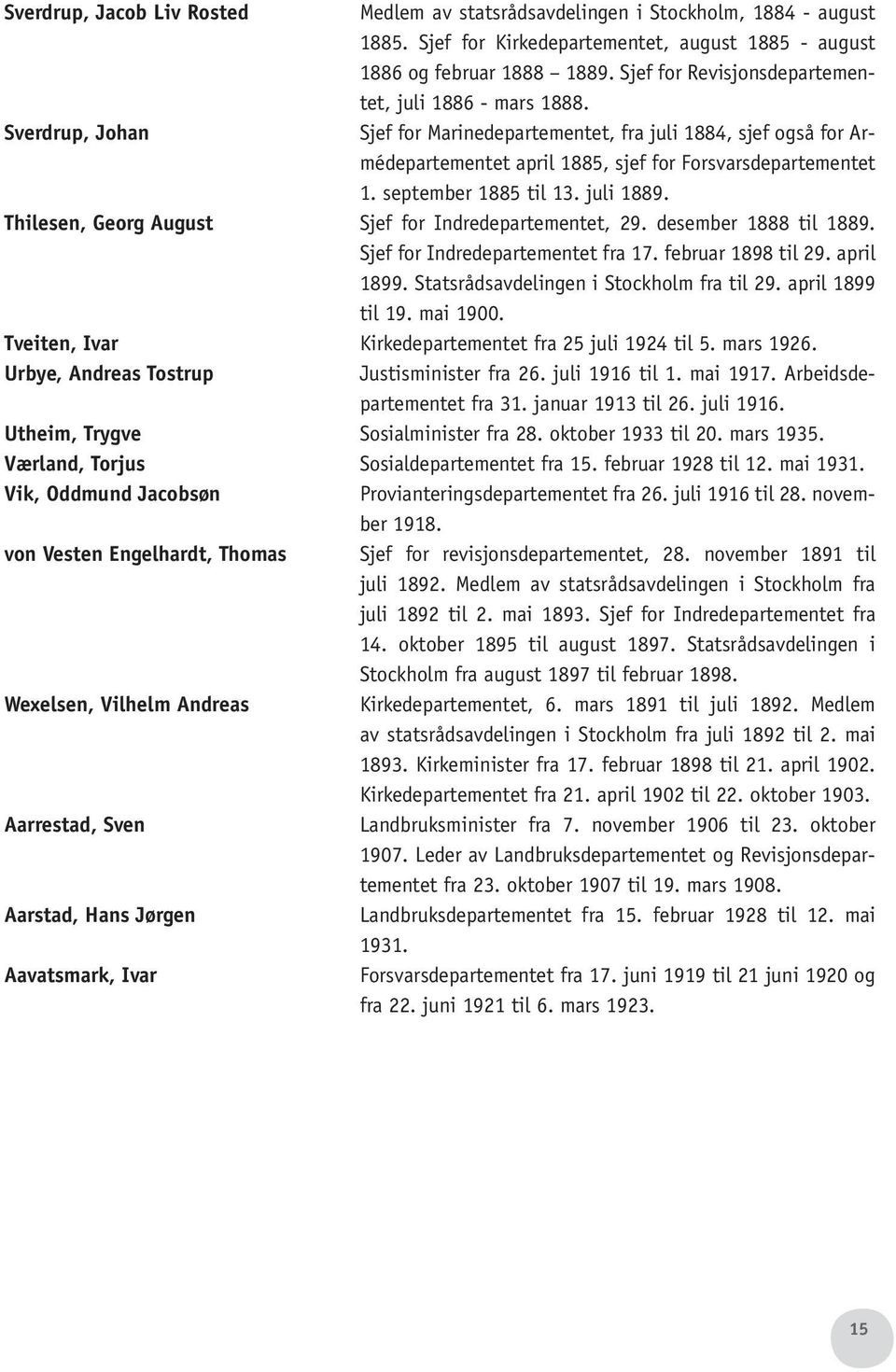september 1885 til 13. juli 1889. Thilesen, Georg August Sjef for Indredepartementet, 29. desember 1888 til 1889. Sjef for Indredepartementet fra 17. februar 1898 til 29. april 1899.