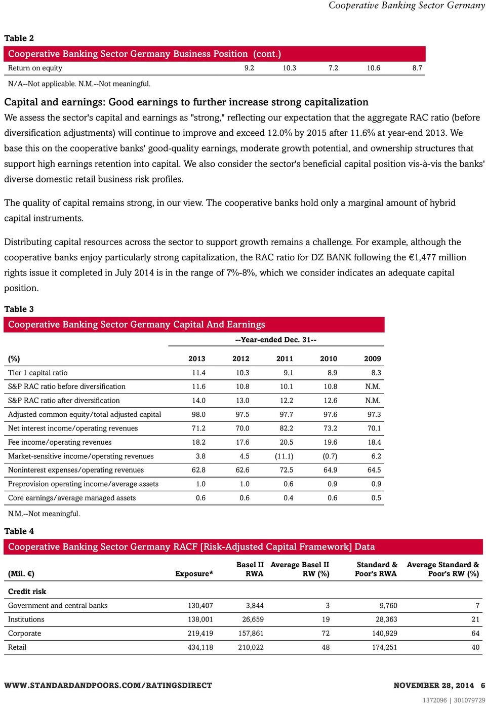 diversification adjustments) will continue to improve and exceed 12.0% by 2015 after 11.6% at year-end 2013.