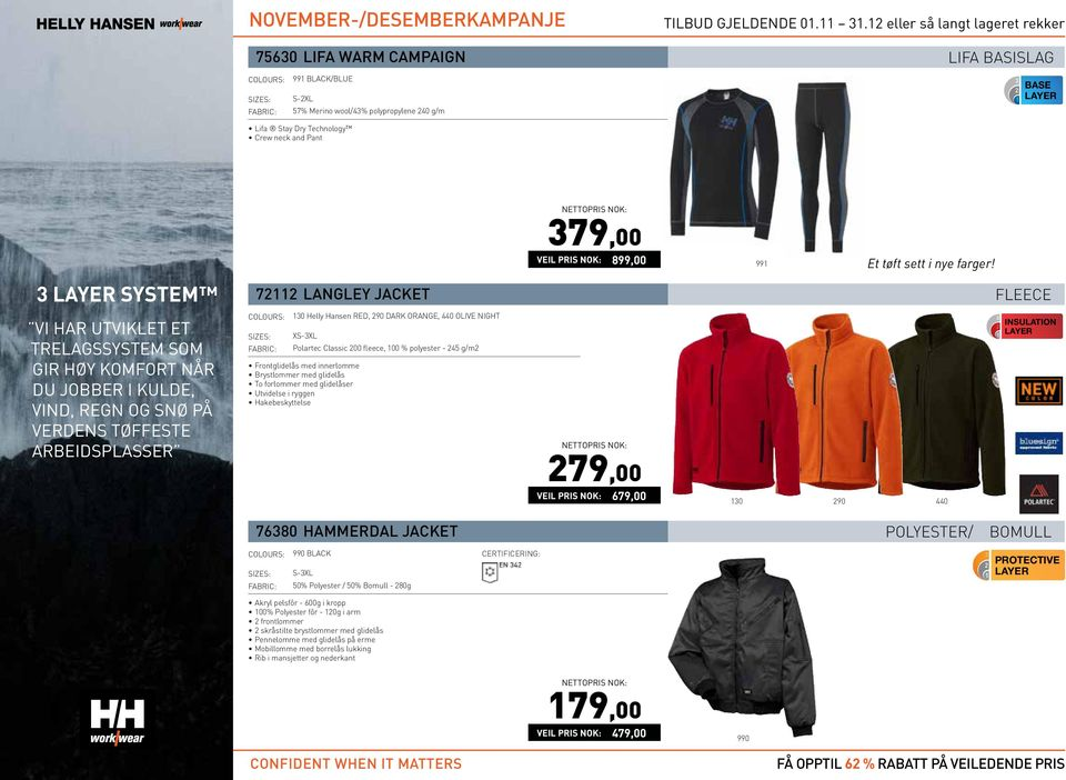 FLEECE 130 Helly Hansen RED, 290 DARK ORANGE, 440 OLIVE NIGHT X Polartec Classic 200 fleece, 100 % polyester - 245 g/m2 Frontglidelås med innerlomme Brystlommer med glidelås To forlommer med