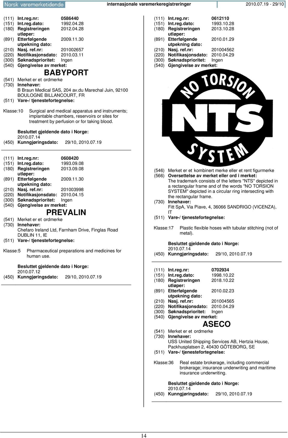 01.29 utpekning dato: (210) Nasj. ref.nr: 201004562 (220) Notifikasjonsdato: 2010.04.29 Klasse:10 Surgical and medical apparatus and instruments; implantable chambers, reservoirs or sites for treatment by perfusion or for taking blood.