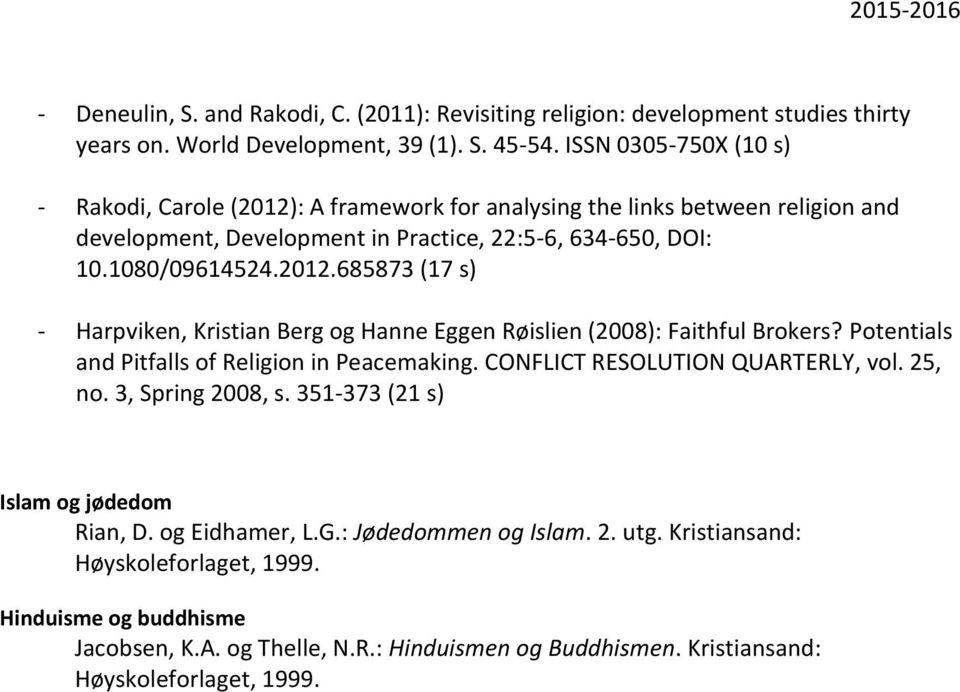 Potentials and Pitfalls of Religion in Peacemaking. CONFLICT RESOLUTION QUARTERLY, vol. 25, no. 3, Spring 2008, s. 351-373 (21 s) Islam og jødedom Rian, D. og Eidhamer, L.G.