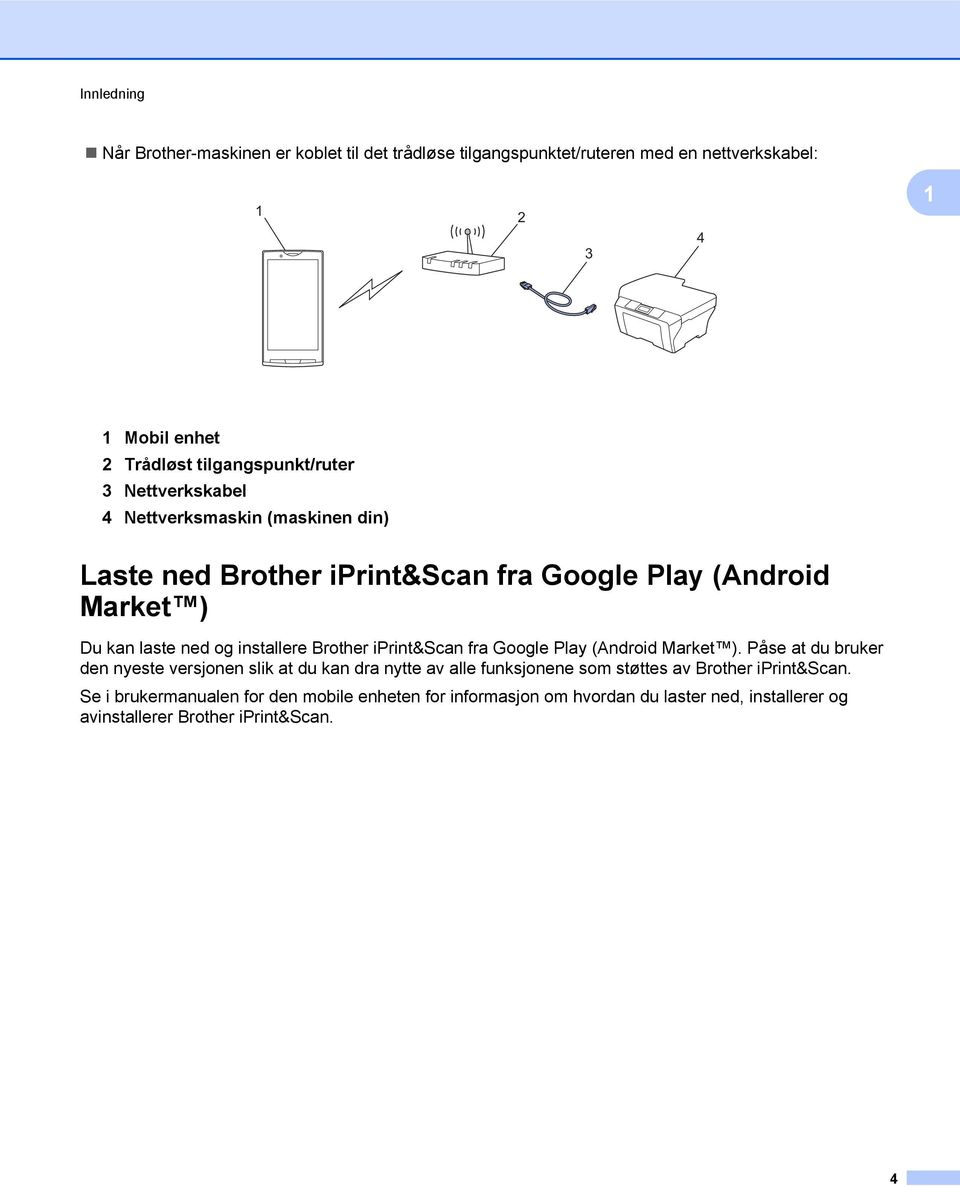 installere Brother iprint&scan fra Google Play (Android Market ).