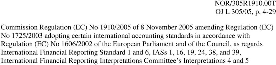 certain international accounting standards in accordance with Regulation (EC) No 1606/2002 of the European