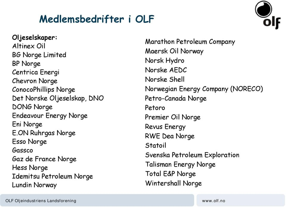 ON Ruhrgas Norge Esso Norge Gassco Gaz de France Norge Hess Norge Idemitsu Petroleum Norge Lundin Norway Marathon Petroleum Company Maersk Oil