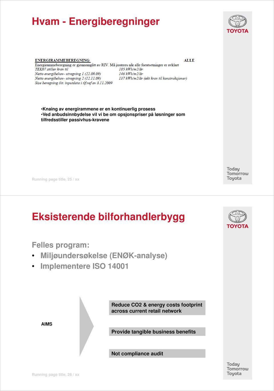 bilforhandlerbygg Felles program: Miljøundersøkelse (ENØK-analyse) Implementere ISO 14001 Reduce CO2 & energy
