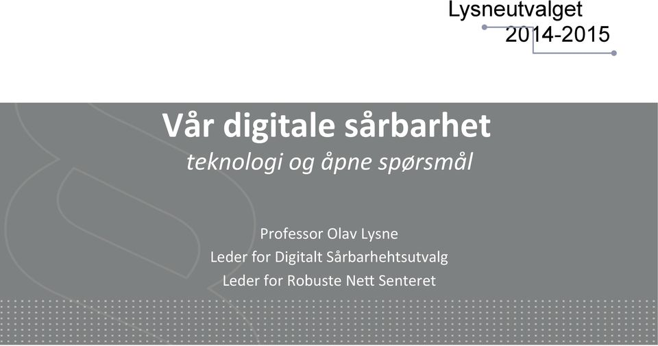 Professor Olav Lysne Leder for Digitalt