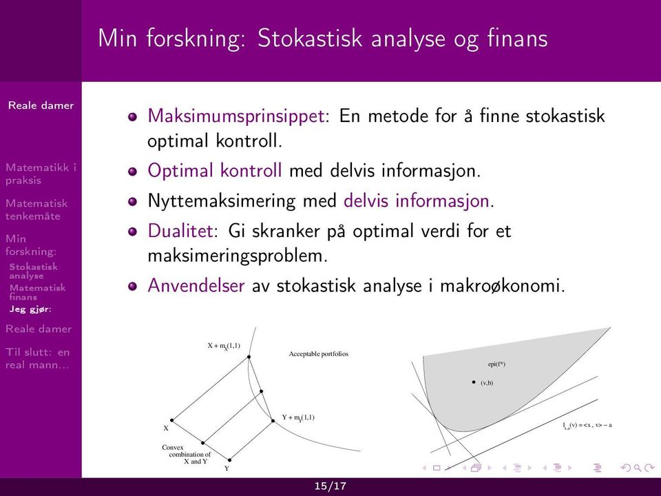 Dualitet: Gi skranker på optimal verdi for et maksimeringsproblem.