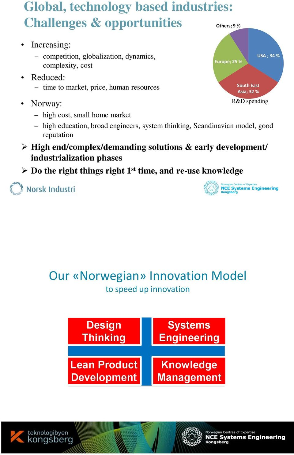 system thinking, Scandinavian model, good reputation High end/complex/demanding solutions & early development/ industrialization phases Do the right things right