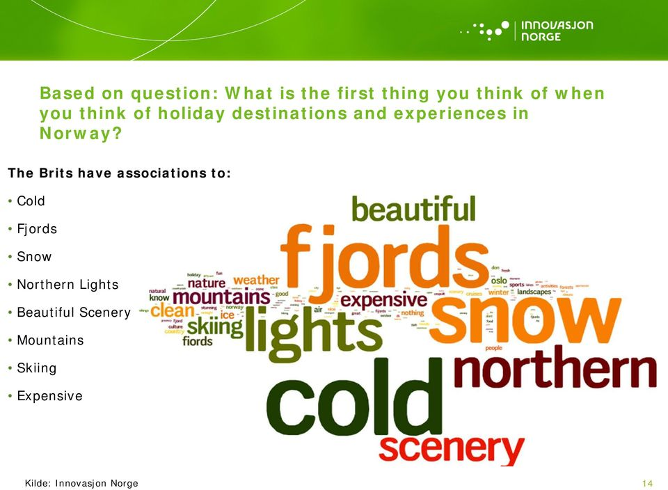 The Brits have associations to: Cold Fjords Snow Northern Lights