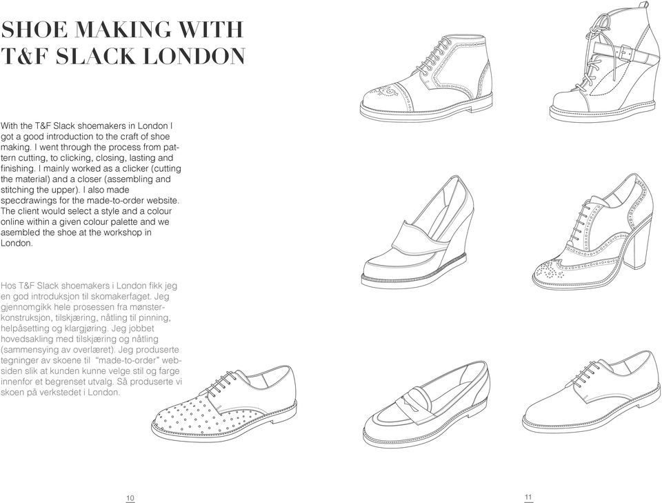 I also made specdrawings for the made-to-order website. The client would select a style and a colour online within a given colour palette and we asembled the shoe at the workshop in London.