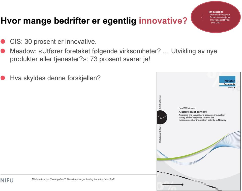(Fra CIS) CIS: 30 prosent er innovative.