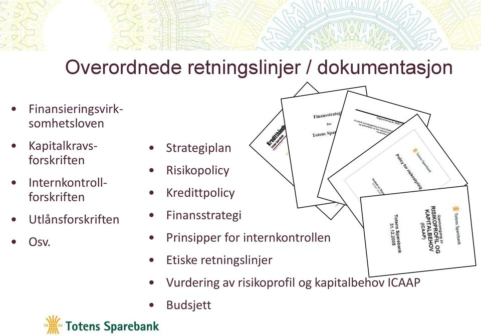 Strategiplan Risikopolicy Kredittpolicy Finansstrategi Prinsipper for