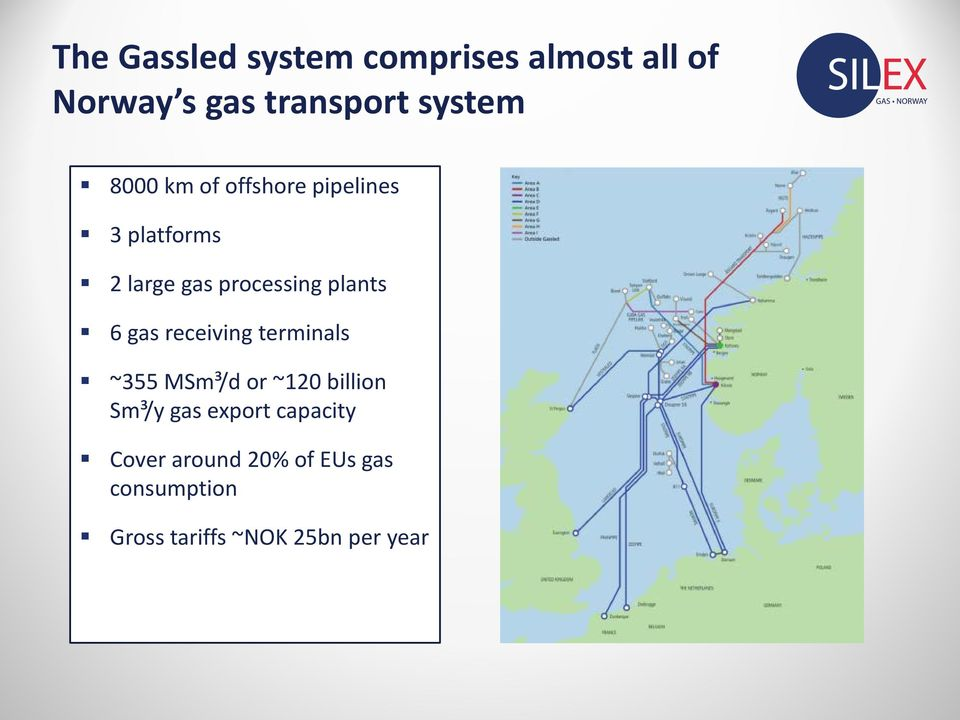 gas receiving terminals ~355 MSm³/d or ~120 billion Sm³/y gas export