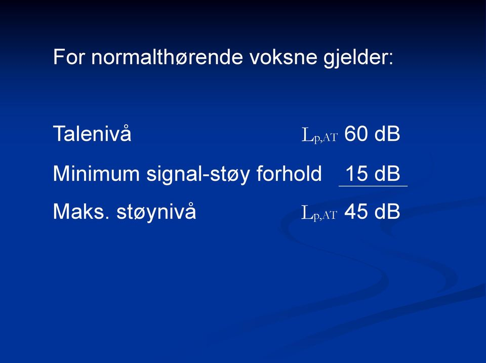 db Minimum signal-støy
