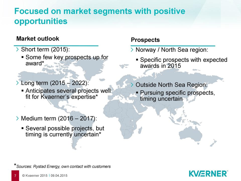 projects well fit for Kvaerner s expertise* Outside North Sea Region: Pursuing specific prospects, timing uncertain Medium term