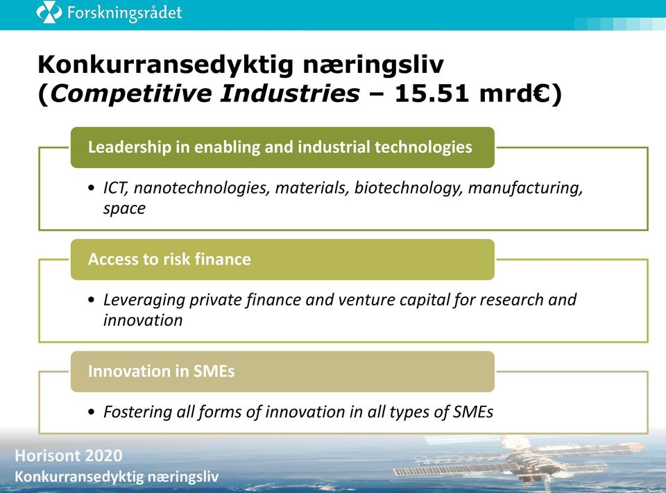 manufacturing, space Access to risk finance Leveraging private finance and venture capital for research and