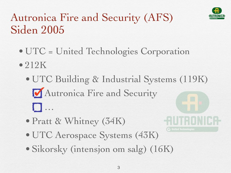 Systems (119K) Autronica Fire and Security Pratt & Whitney