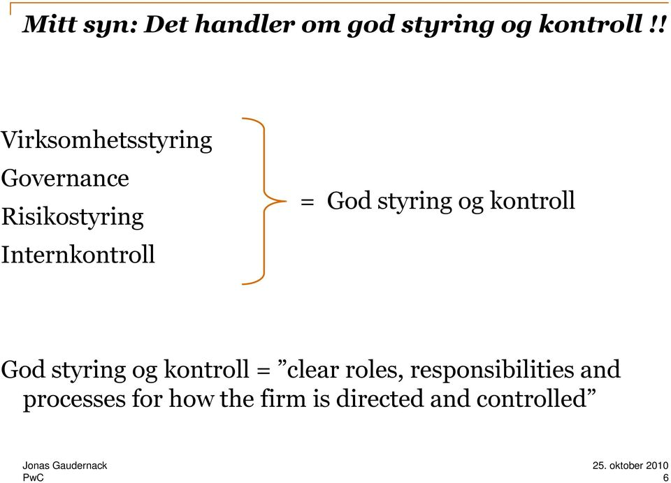 God styring og kontroll God styring og kontroll = clear roles,
