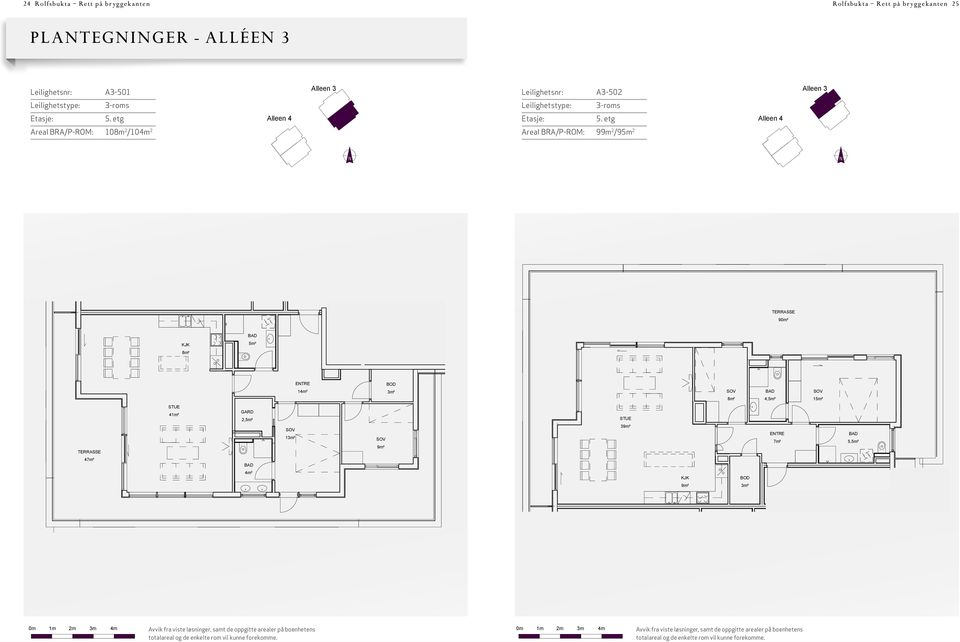 2-ALLEE Leilighetstype 3-R 5.E P-ROM Areal BRA / A3-501 108m² / 104m² 23.08.12 P-ROM Areal BRA / A3-99m 1 : 23.