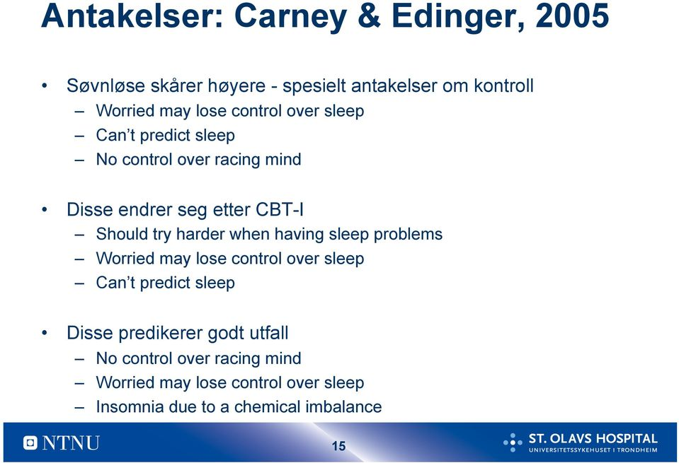 harder when having sleep problems Worried may lose control over sleep Can t predict sleep Disse predikerer