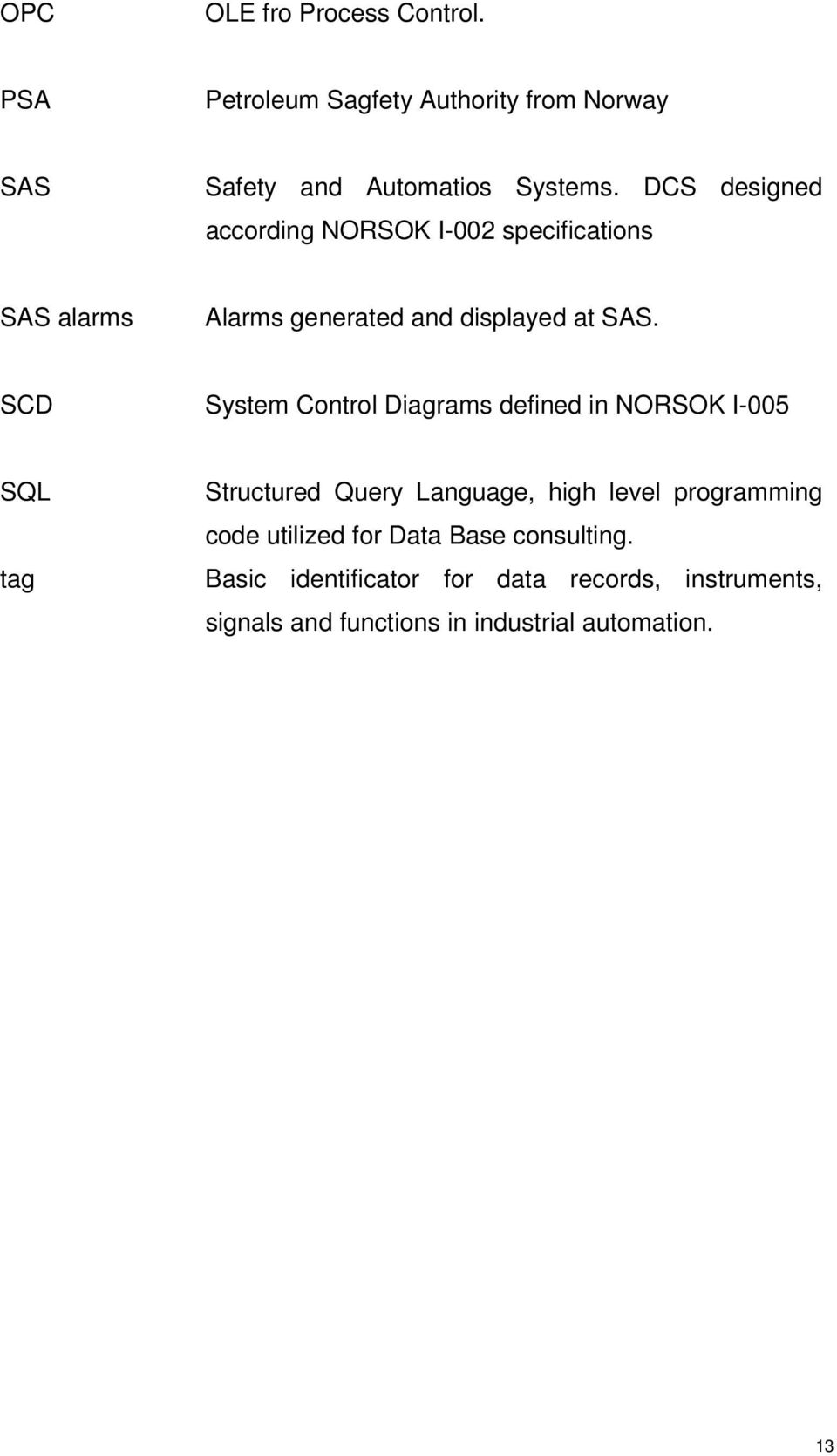 SCD System Control Diagrams defined in NORSOK I-005 SQL tag Structured Query Language, high level programming code