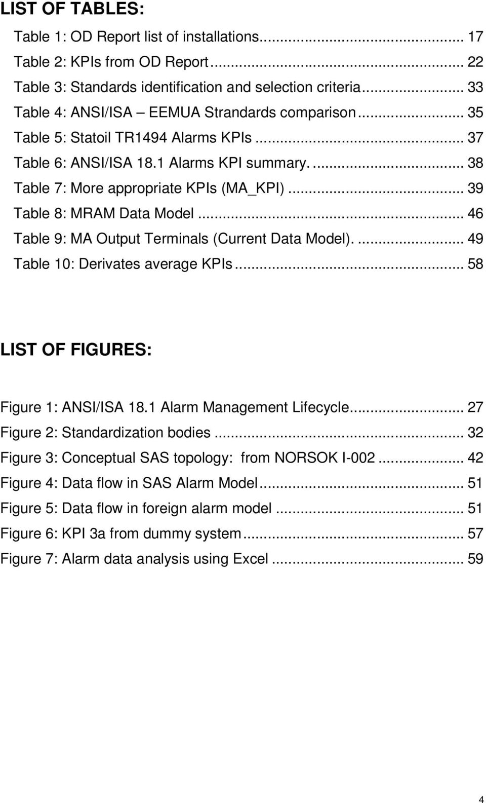 .. 39 Table 8: MRAM Data Model... 46 Table 9: MA Output Terminals (Current Data Model).... 49 Table 10: Derivates average KPIs... 58 LIST OF FIGURES: Figure 1: ANSI/ISA 18.