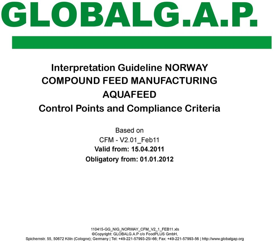 AQUAFEED Control Points and Compliance Criteria Based on