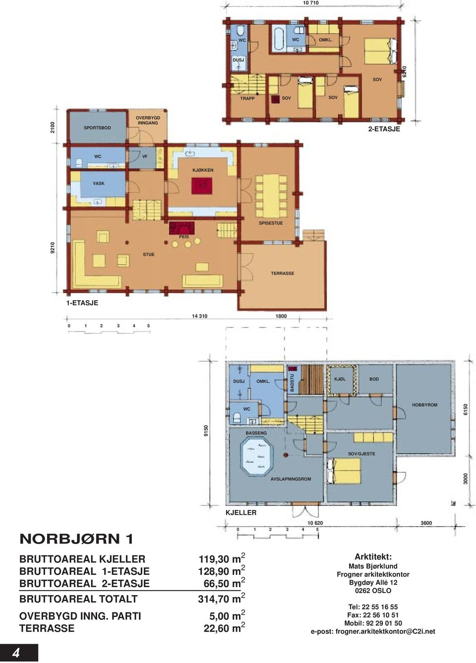 1-ETASJE 128,90 m 2 BRUTTOAREAL 2-ETASJE 66,50 m 2 BRUTTOAREAL TOTALT 314,70 m 2 OVERBYGD INNG.