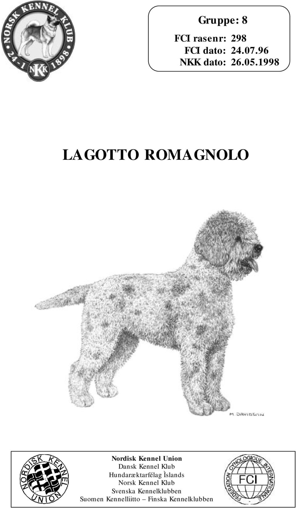 1998 LAGOTTO ROMAGNOLO Nordisk Kennel Union Dansk Kennel