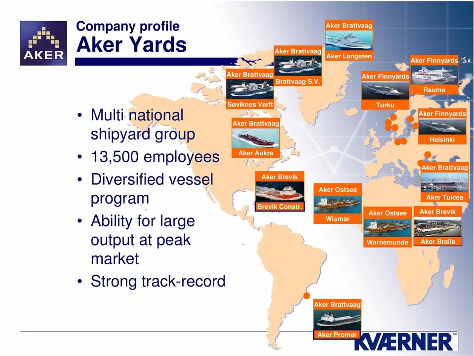 Rauma Søviknes Verft Multi national shipyard group 13,500 employees Diversified vessel program Ability for large output