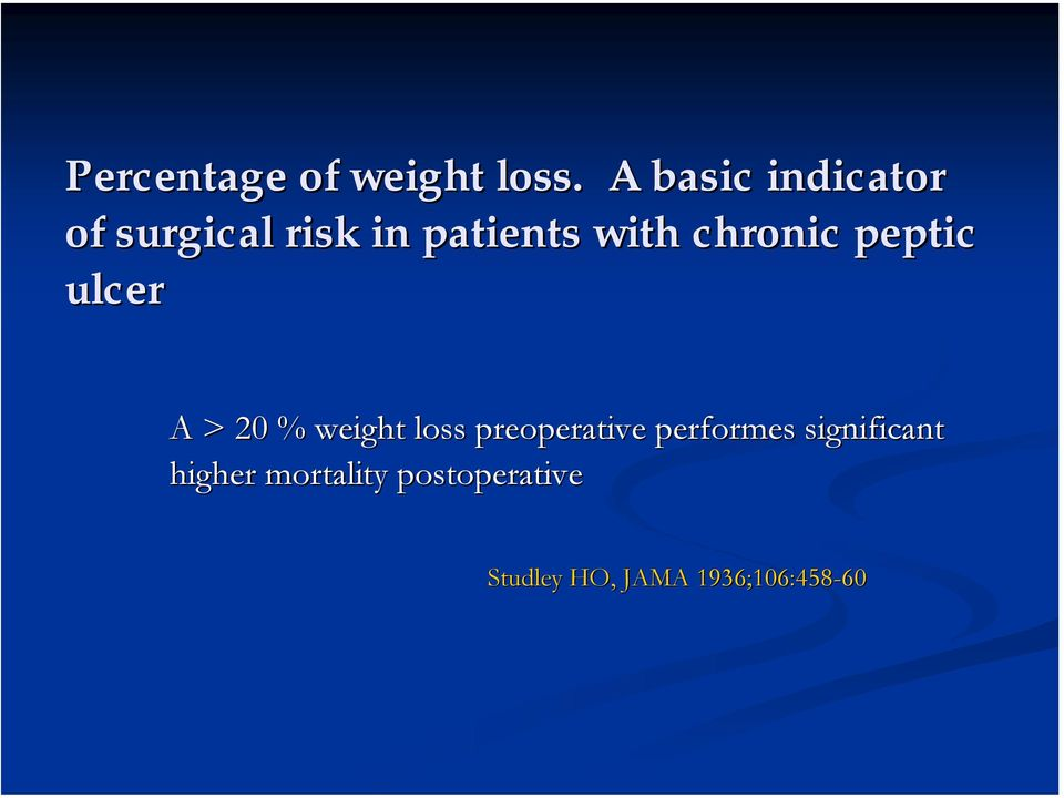 chronic peptic ulcer A > 20 % weight loss preoperative