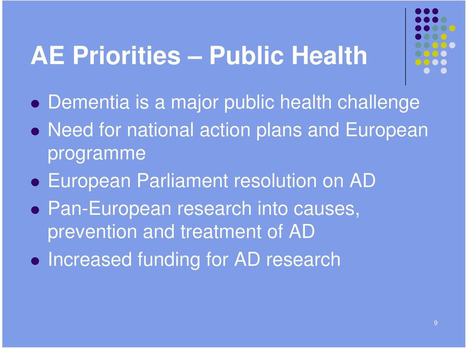 European Parliament resolution on AD Pan-European research into