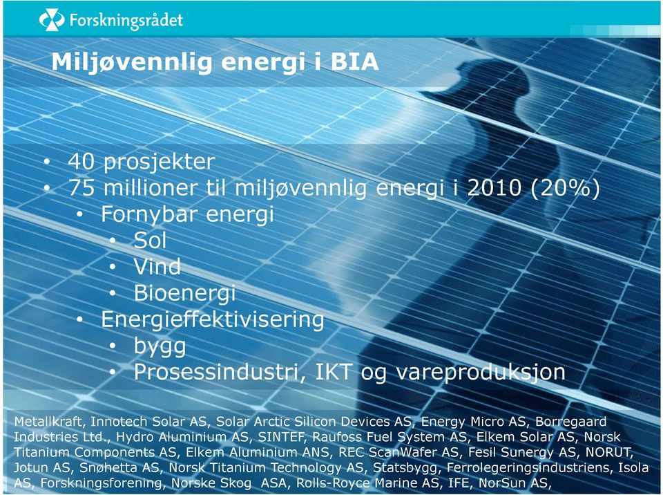 , Hydro Aluminium AS, SINTEF, Raufoss Fuel System AS, Elkem Solar AS, Norsk Titanium Components AS, Elkem Aluminium ANS, REC ScanWafer AS, Fesil Sunergy AS,